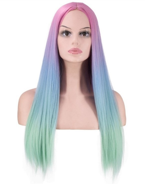 Rainbow Long Woman Wig Front