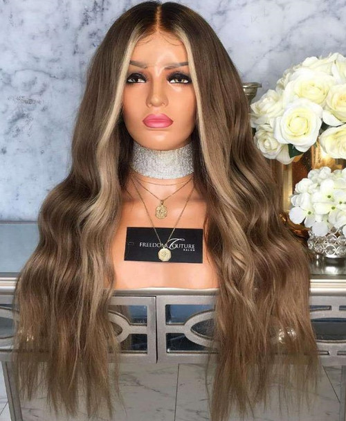 Long Blond Ombre front view