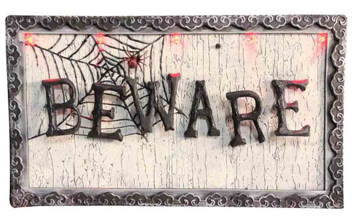 Animated Light Up Beware Sign 18in