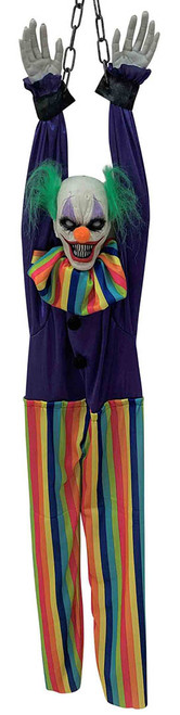 Shaking Chained Clown with Striped Pants 53in