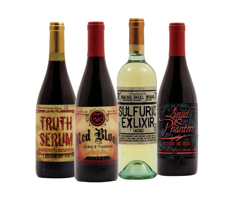 Halloween wine bottle stickers