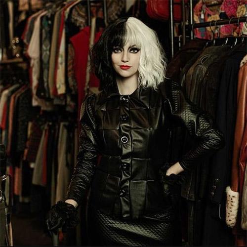 Cruella cosplay in black leather jacket
