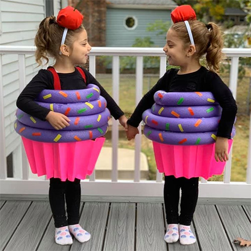 Sister Costumes of Cupcakes made with Pool Noodles