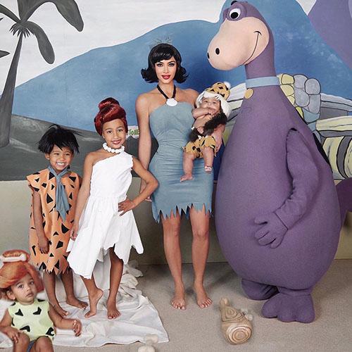 Kandashian-West Family as Flinstones for Halloween