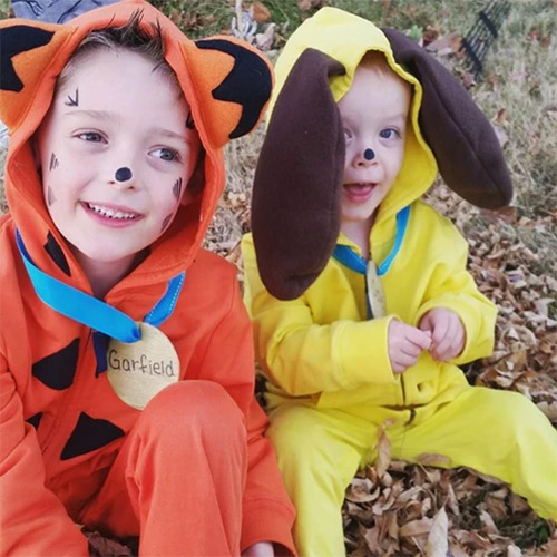 Homemade Garfield and Odie Costumes