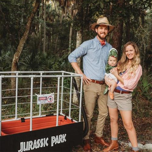 Family Dressed in Jurassic Park Costume