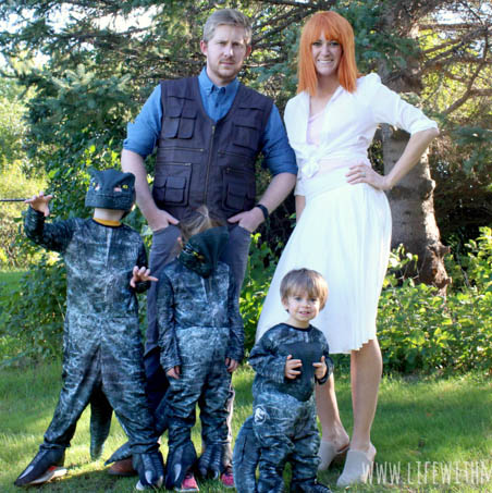 Family dressed as characters from Jurassic World