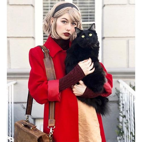 Sabrina Spellman and her Cat Salem