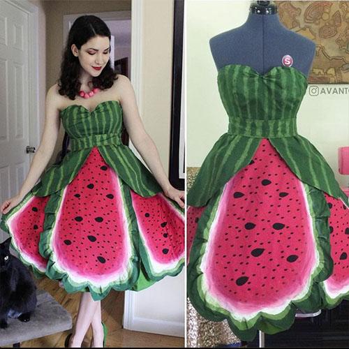 Cosplayer in Homemade Watermelon Dress