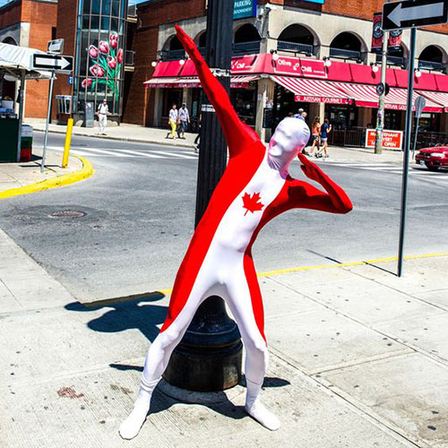 Red and White Canadian Morphsuit