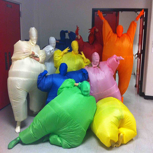 Group in Inflatable Morph Suits in Different Colours