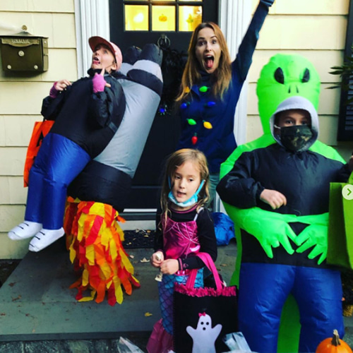 Family in Jetpack and Alien Inflatable Costume