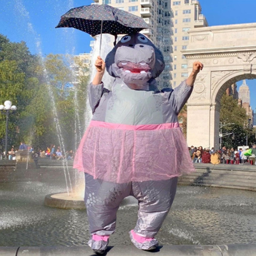 Grey Hippo in Dress Inflatable Costume at Fountain