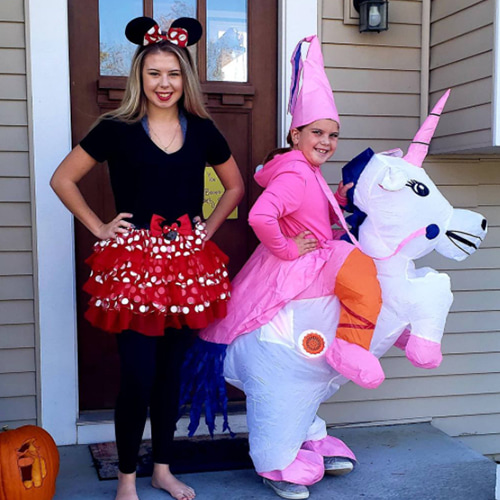 Pink Princess and White Unicorn Inflatable Costume For Kids