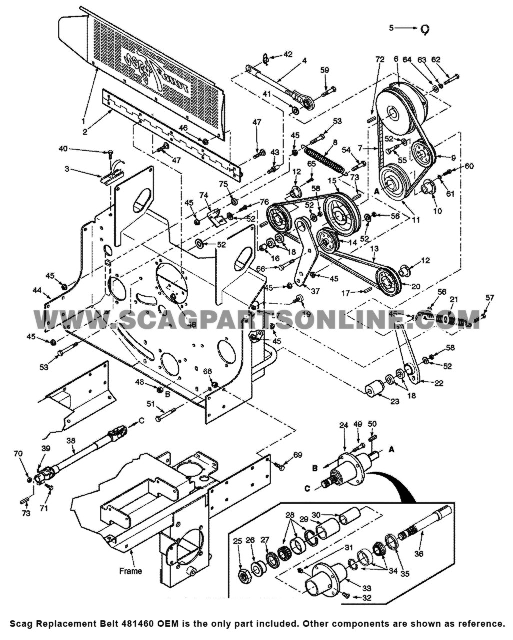 Parts lookup Scag Replacement Belt 481460 OEM diagram