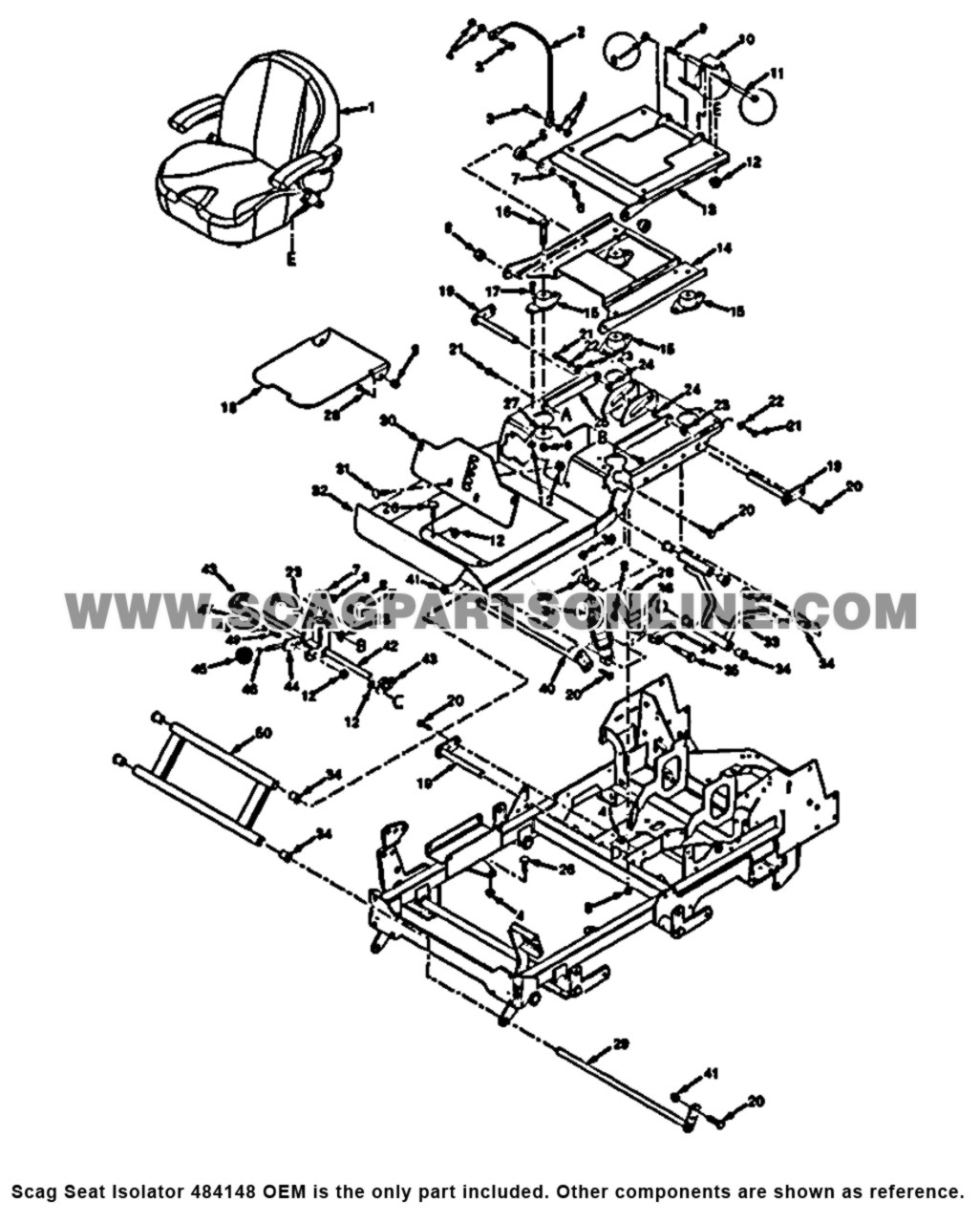 Parts lookup Scag Seat Isolator 484148 OEM diagram