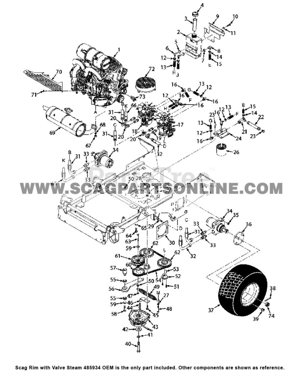 Parts lookup Scag Rim with Valve Steam 485934 OEM diagram