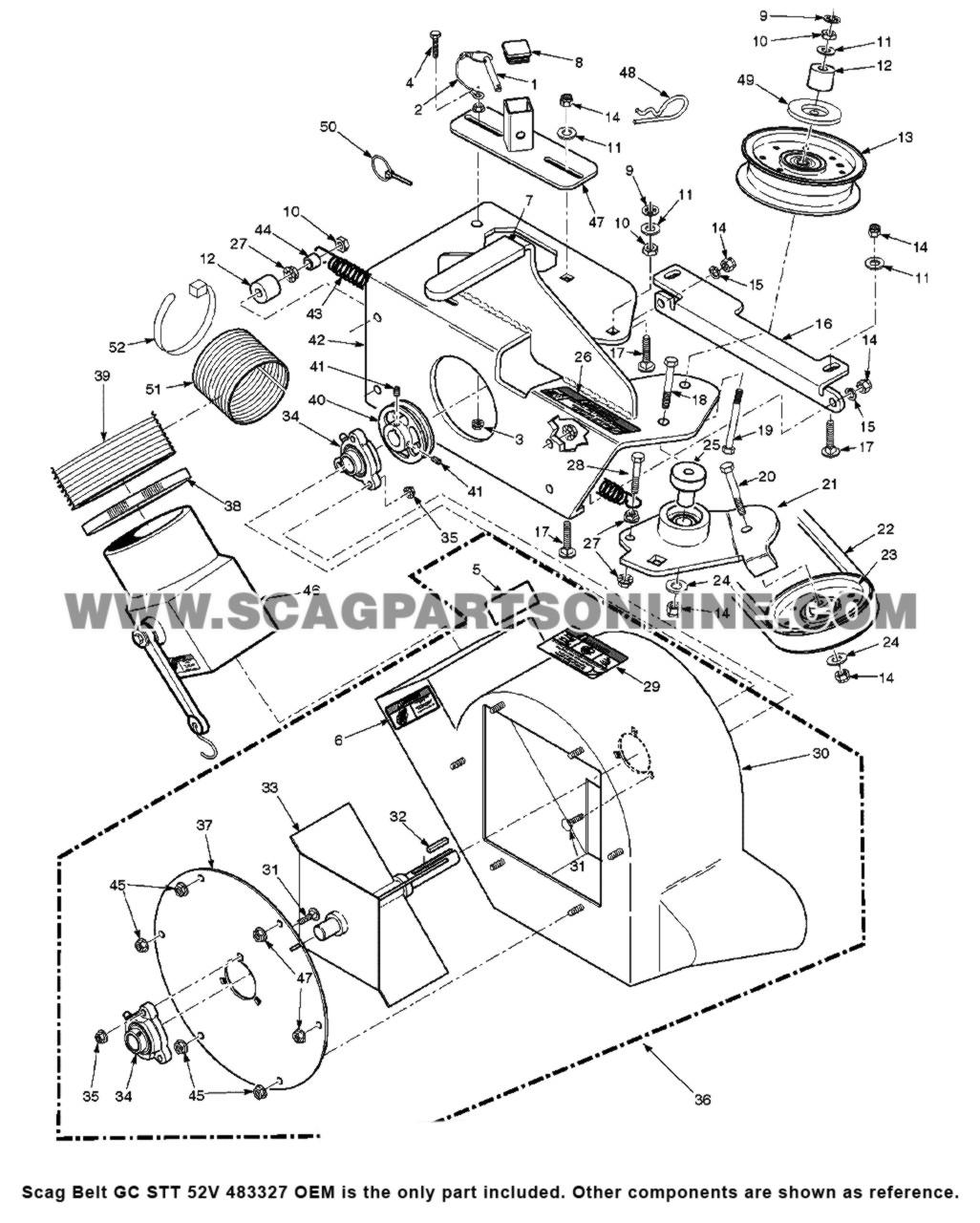 Parts lookup Scag Belt GC STT 52V 483327 OEM diagram