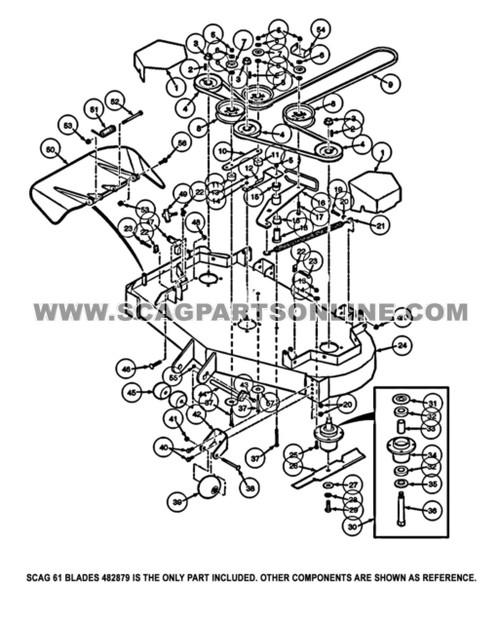 "Parts lookup Scag 482879 Freedom Z Cutter Blade 21.0"" OEM diagram"