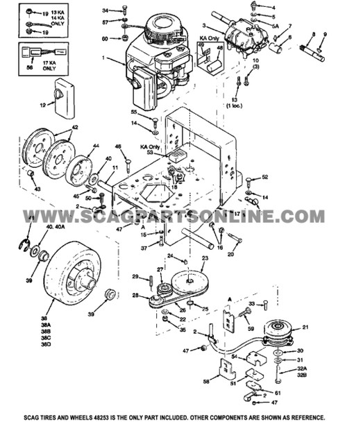 Parts lookup Scag tires and Wheels 48253 OEM diagram