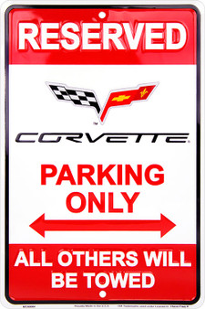 HangTime Corvette Parking Only 8 x 12 Metal Sign