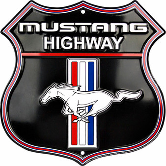 HangTime Ford Mustang Highway 12 inch die cut route sign