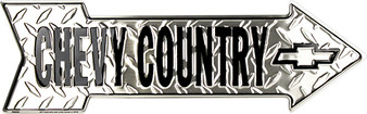 Chevy Country Embossed aluminum arrow sign 4 x 20