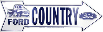 Ford Country Embossed aluminum arrow sign 4 x 20