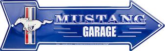Mustang Garage Embossed aluminum arrow sign 4 x 20