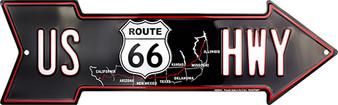 US HWY 66 Embossed aluminum arrow sign 4 x 20