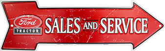 Ford Tractor Sales and Service Embossed aluminum arrow sign 4 x 20