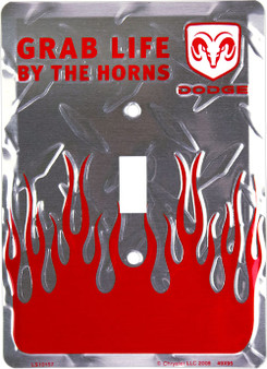 Dodge Grab life by the Horns single pole light switch plate