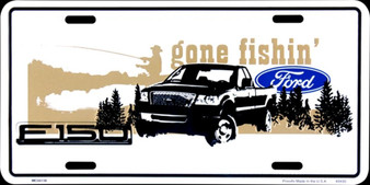 Ford Gone Fishing 6 x 12 Embossed aluminum license plate
