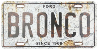 Bronco Rust Background 6 x 12 Embossed aluminum license plate