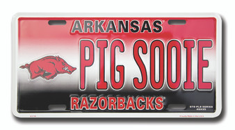 Arkansas PIG SOOIE 6 x 12 Embossed aluminum license