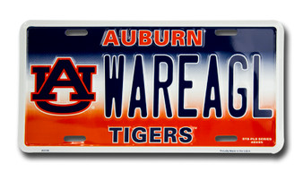 Auburn WAREAGL 6 x 12 Embossed aluminum license plate