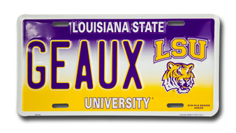 LSU GEAUX  6 x 12 Embossed aluminum license plate