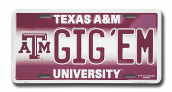 Texas A&M GIG'EM 6 x 12 Embossed aluminum license plate