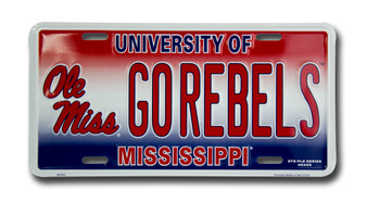 Ole Miss GO REBELS 6 x 12 Embossed aluminum license