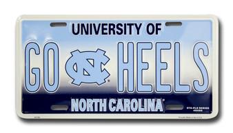 UNC GO HEELS 6 x 12 Embossed aluminum license