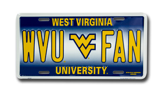 West Virginia WVU FAN 6 x 12 Embossed aluminum license