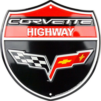 HangTime Corvette Highway 24 inch garage sign