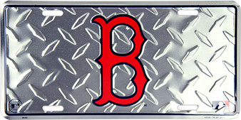 Boston Red Sox  diamond background license plate