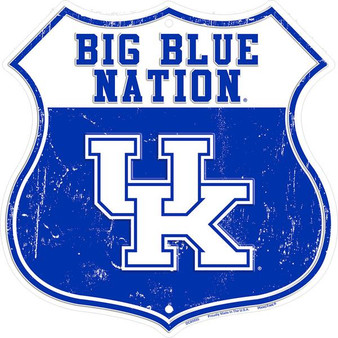Kentucky Big Blue Nation 12 inch die cut route sign