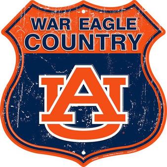 Auburn War Eagle Country 12 inch die cut route sign