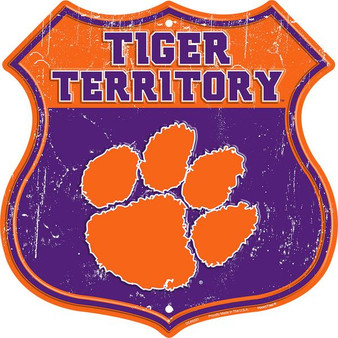 Clemson Tiger Territory 12 inch die cut route sign