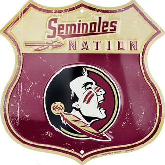 FSU Seminoles Nation Twelve inch 12 inch die cut route sign