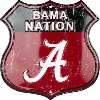 University of Alabama - BAMA Nation Twelve inch 12 inch die cut route sign