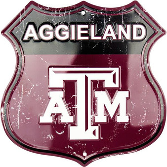 Texas A & M - Aggieland Twelve inch 12 inch die cut route sign