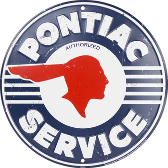 HangTime Pontiac Service  Aluminum garage sign 24 inches in diameter